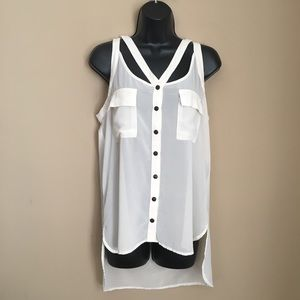 Ivory Sheer Snap Button Front Pocket Tank